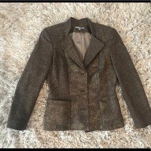 Bill Blass New York brown metallic wool blazer